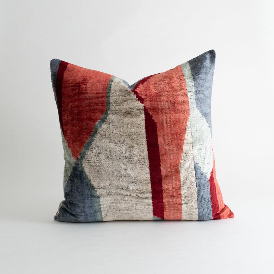 "Modern Mirage Ikat Velvet/Silk 20"" Pillow"