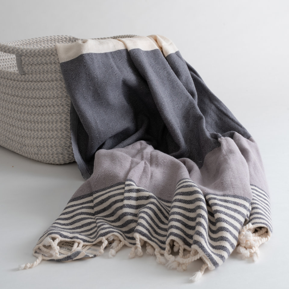 Striped Small Throw with Fringe Dusty Lilac