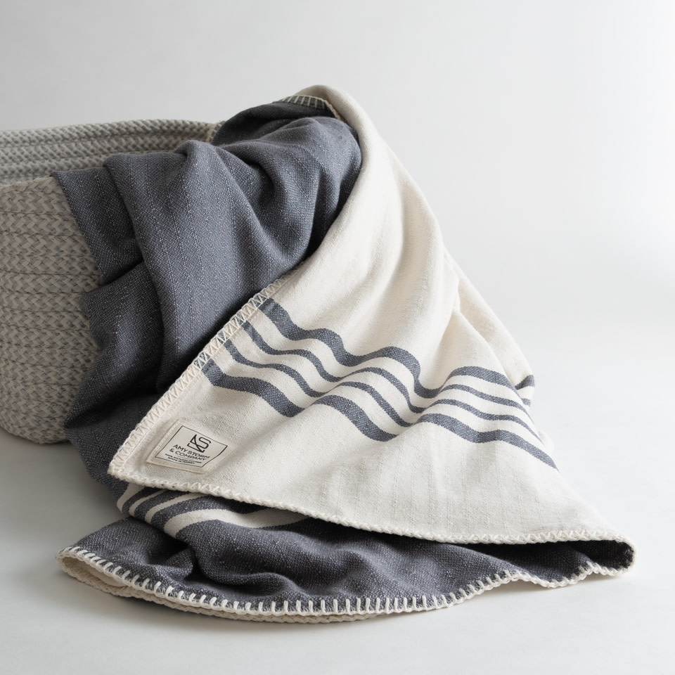 Farmhouse Reversible Throw {Earl Grey + Cream}