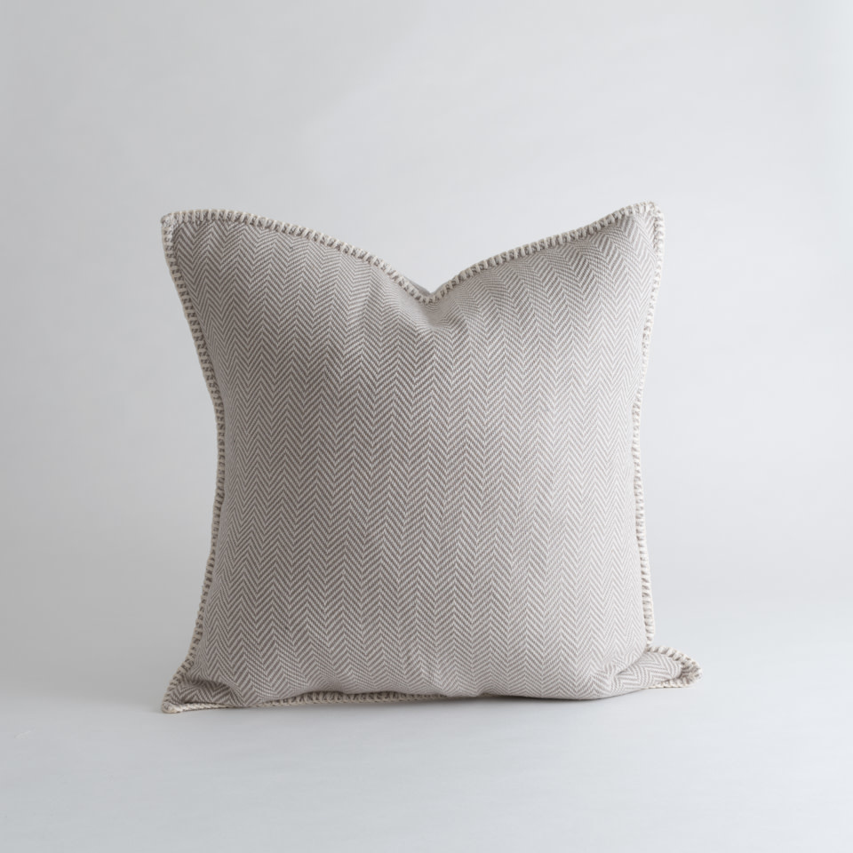 """Zig Zag 18"""" Pillow Taupe"""