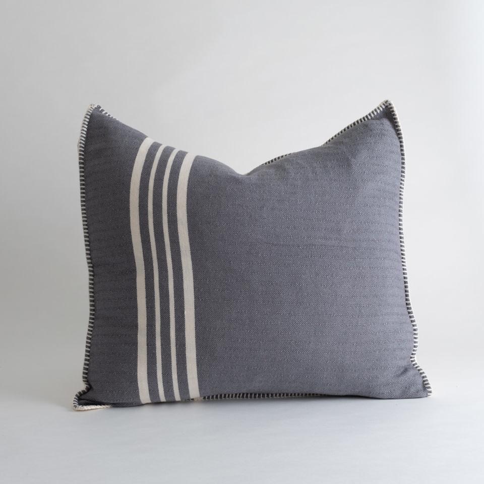 """Farmhouse Stripe  22"""" Pillow Dark Grey"""