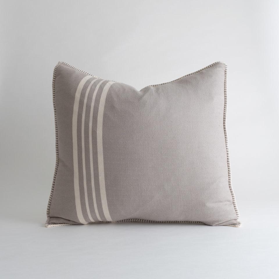 Farmhouse Pillow Cover Taupe Stripe