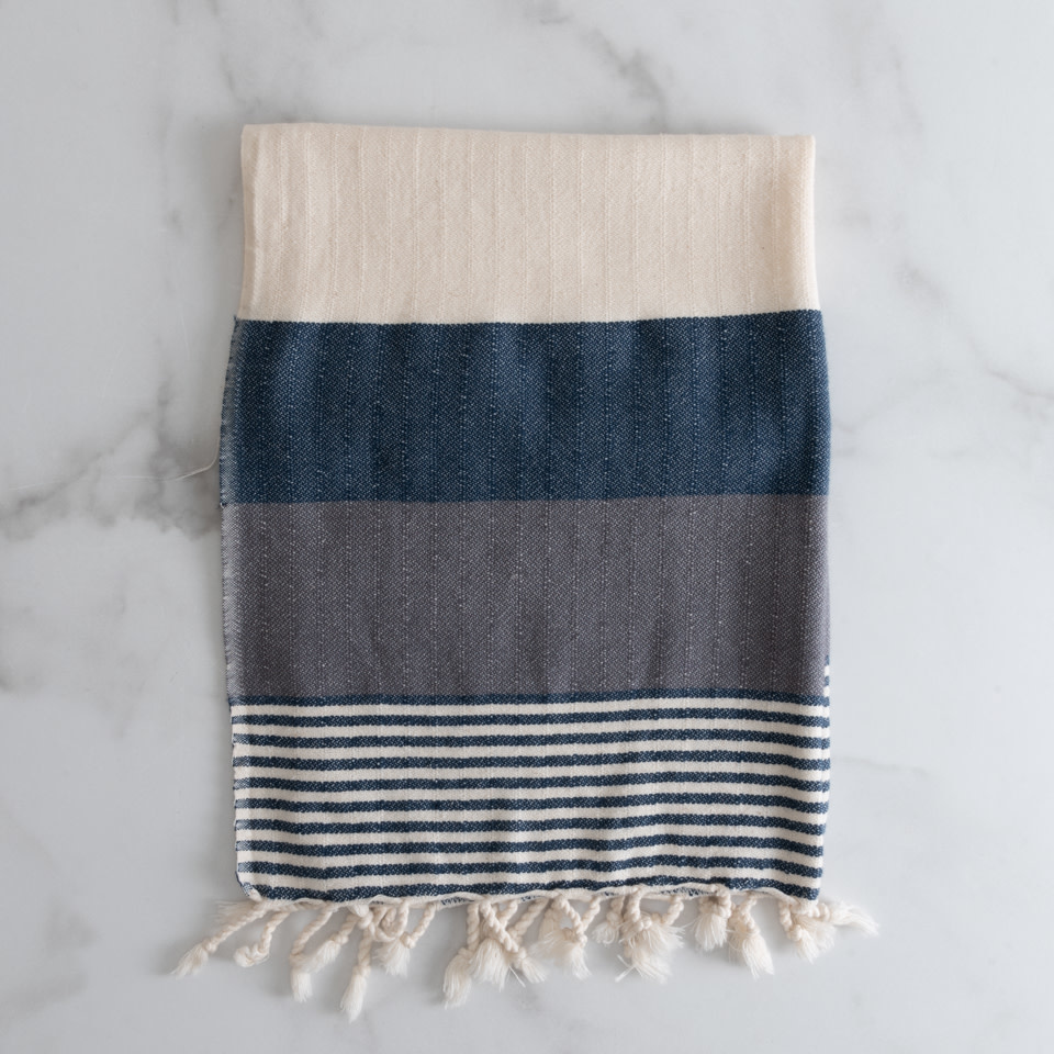 Striped Kitchen Towel with Fringe Navy & Grey