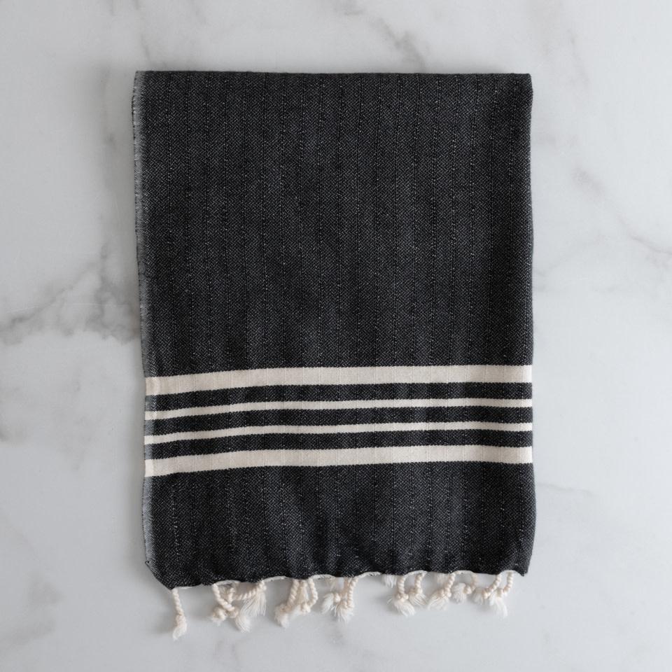 Farmhouse Fringe Kitchen Towel {Onyx}