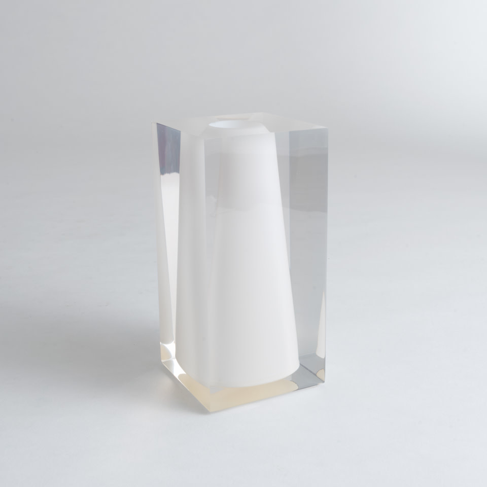 Acrylic Block Bud Vase Large White