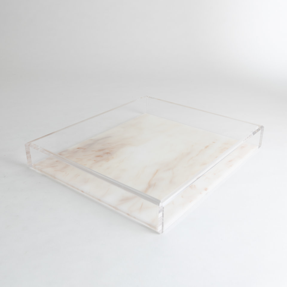 Large Acrylic Tray {Whitestone Marble}
