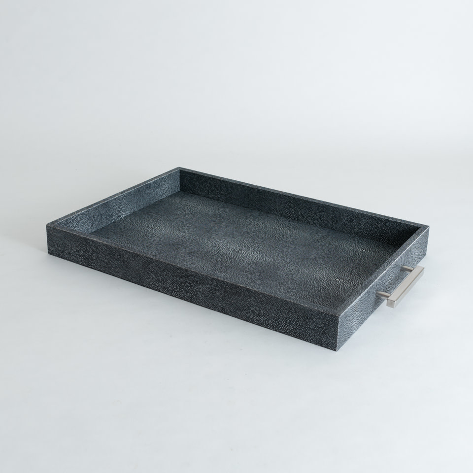 Shagreen Rectangle Tray {Charcoal Grey}