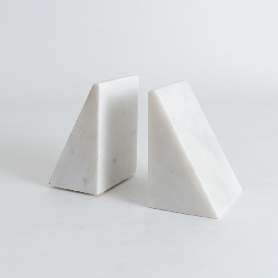 Marble Triangular Bookends