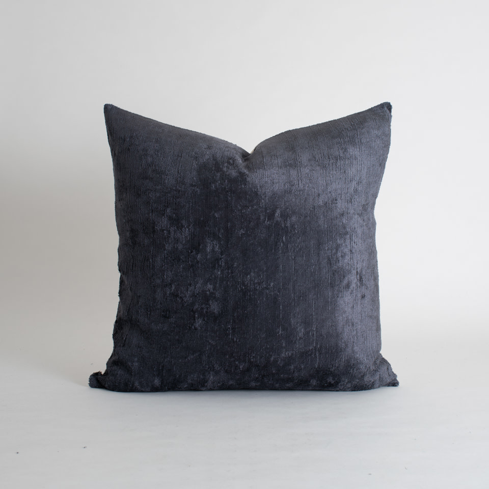 "Charcoal Silk + Velvet 20"" Pillow Cover"