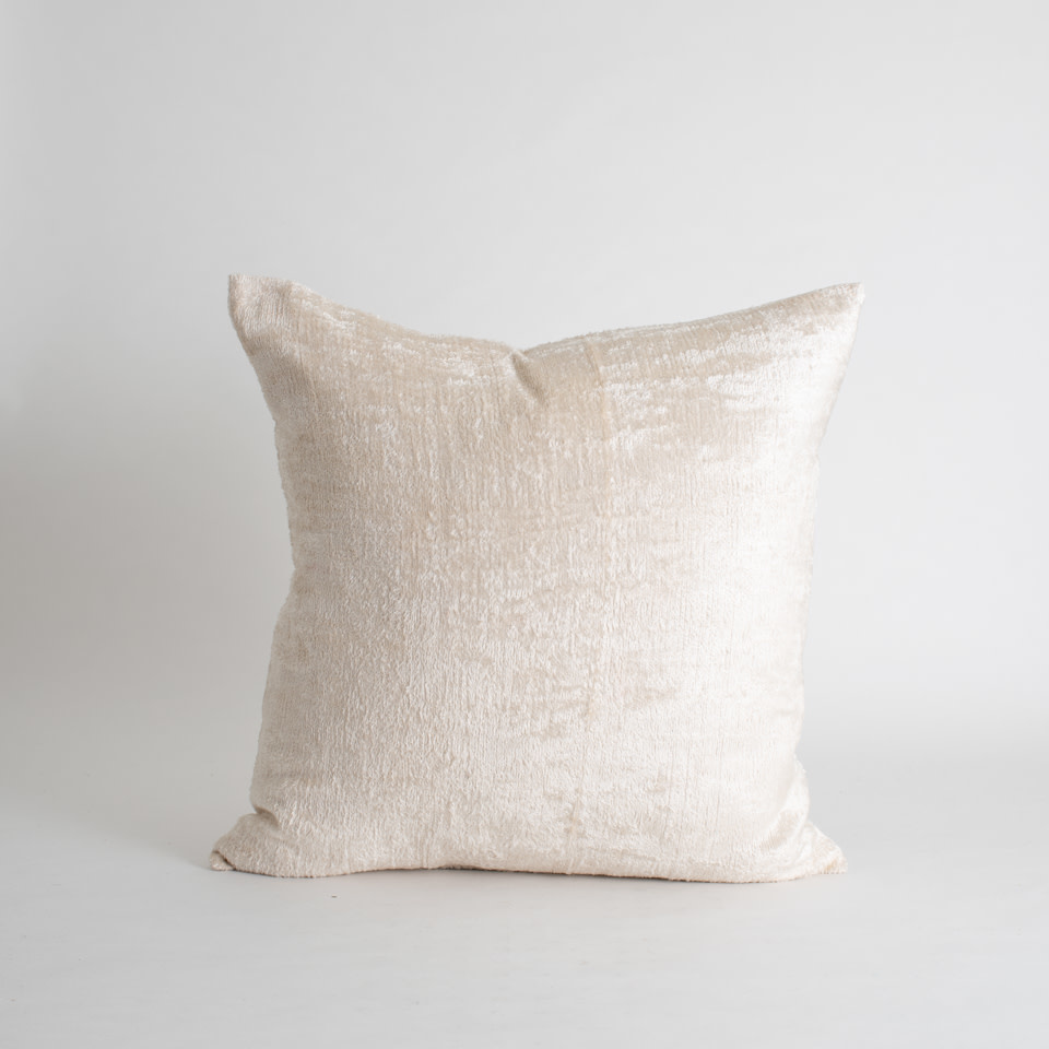 """Ivory Pearl Silk + Velvet 20"""" Pillow Cover"""