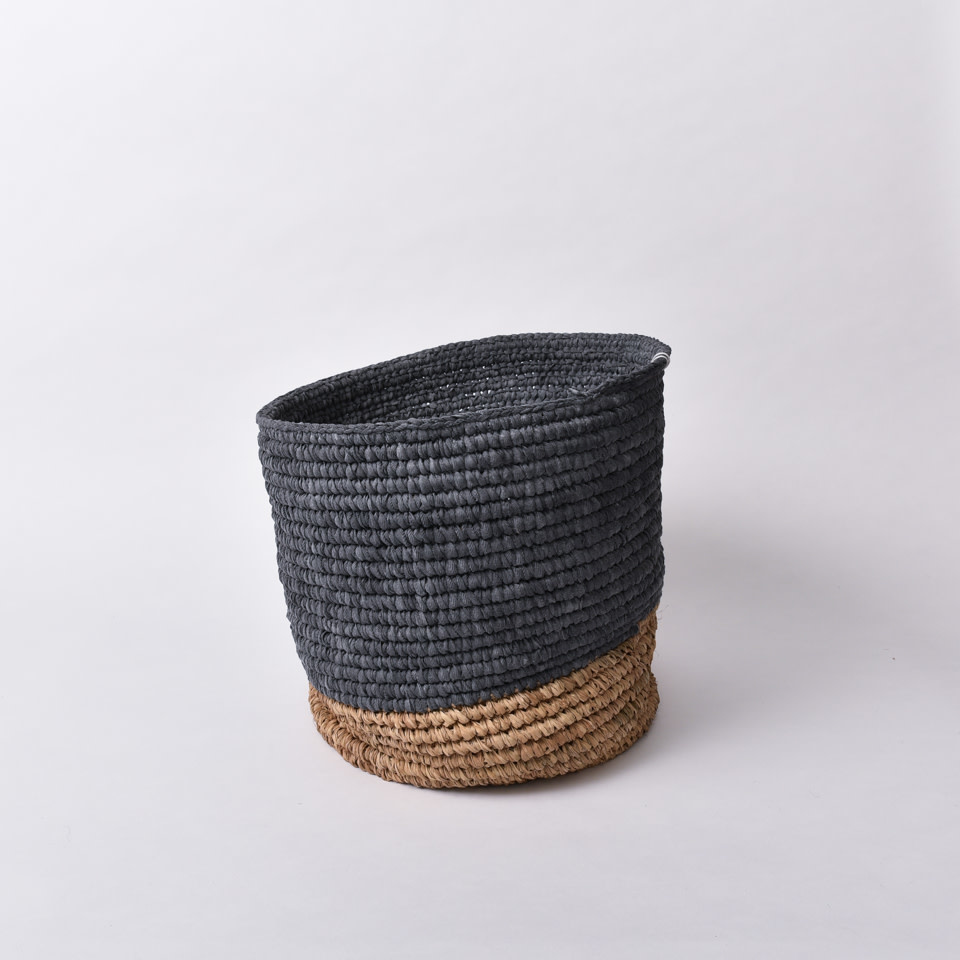 Dip Dyed Natural Seagrass Basket Small