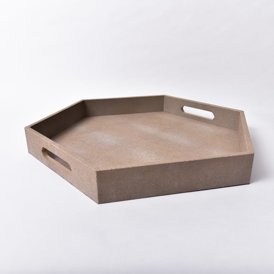 Shagreen Hex Tray {Ivory Grey}