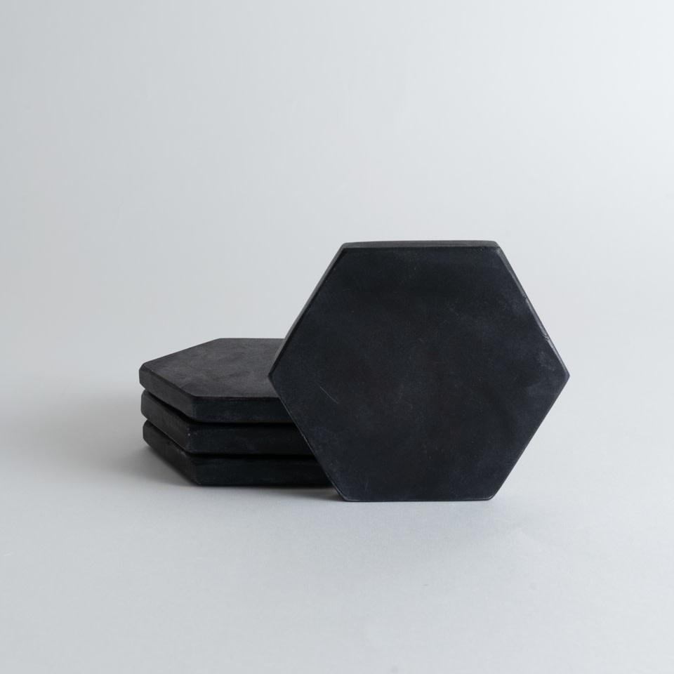 Black Hexagon Marble Coasters