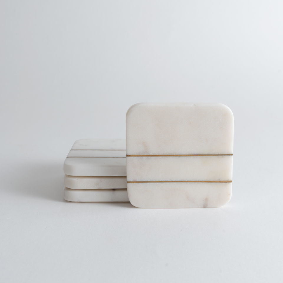 Marble Coasters with Brass Inlay {Square}