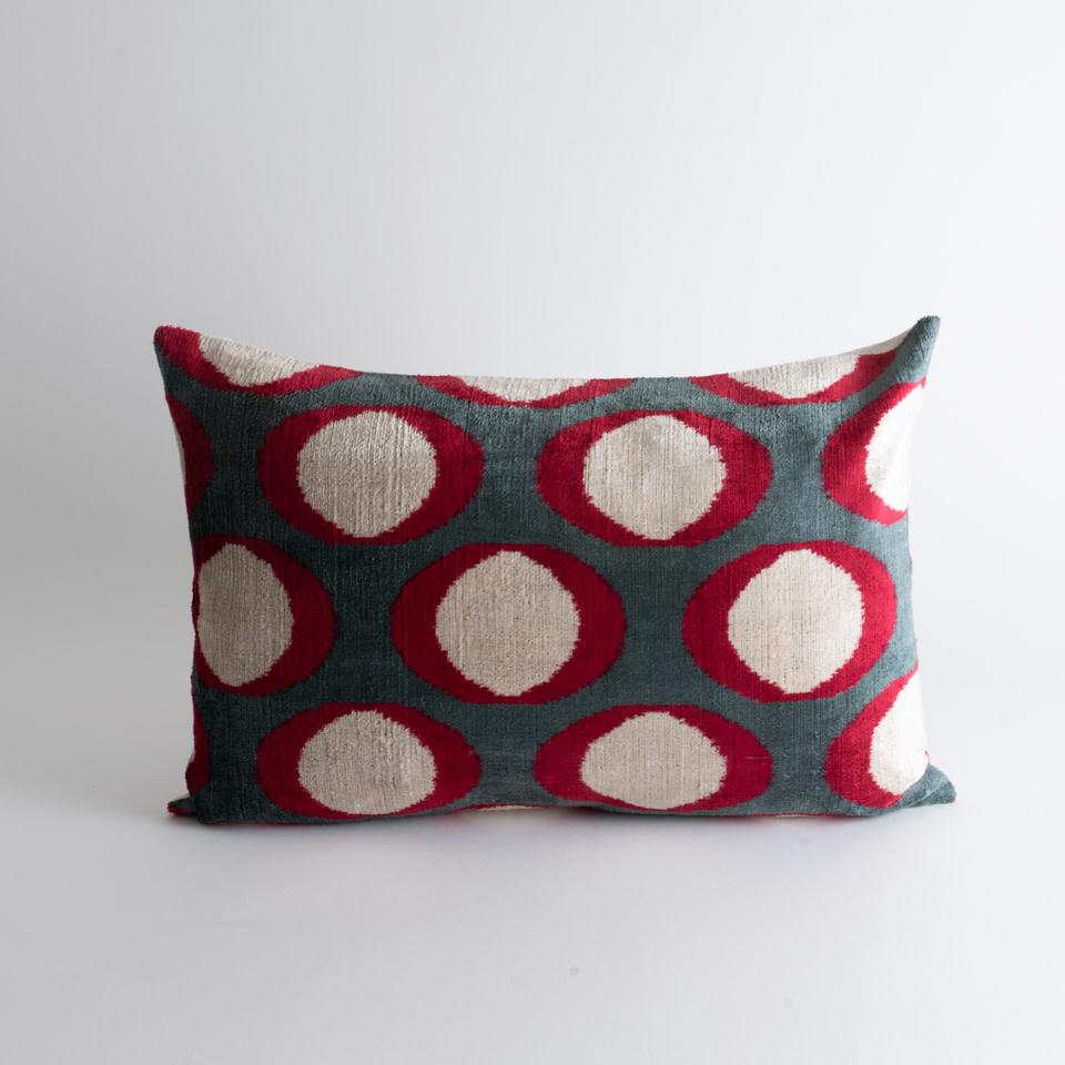 Red Shells Silk + Velvet Lumbar Pillow Cover