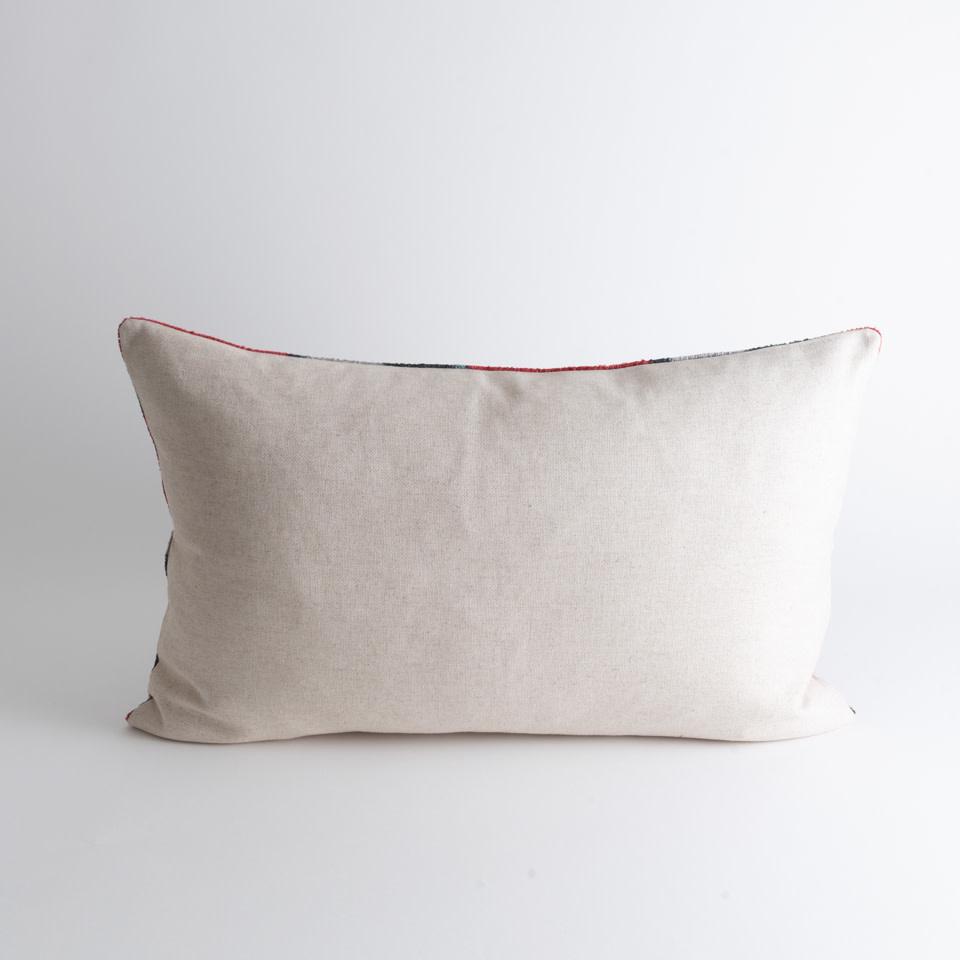 Grey Peacock Silk + Velvet Lumbar Pillow Cover