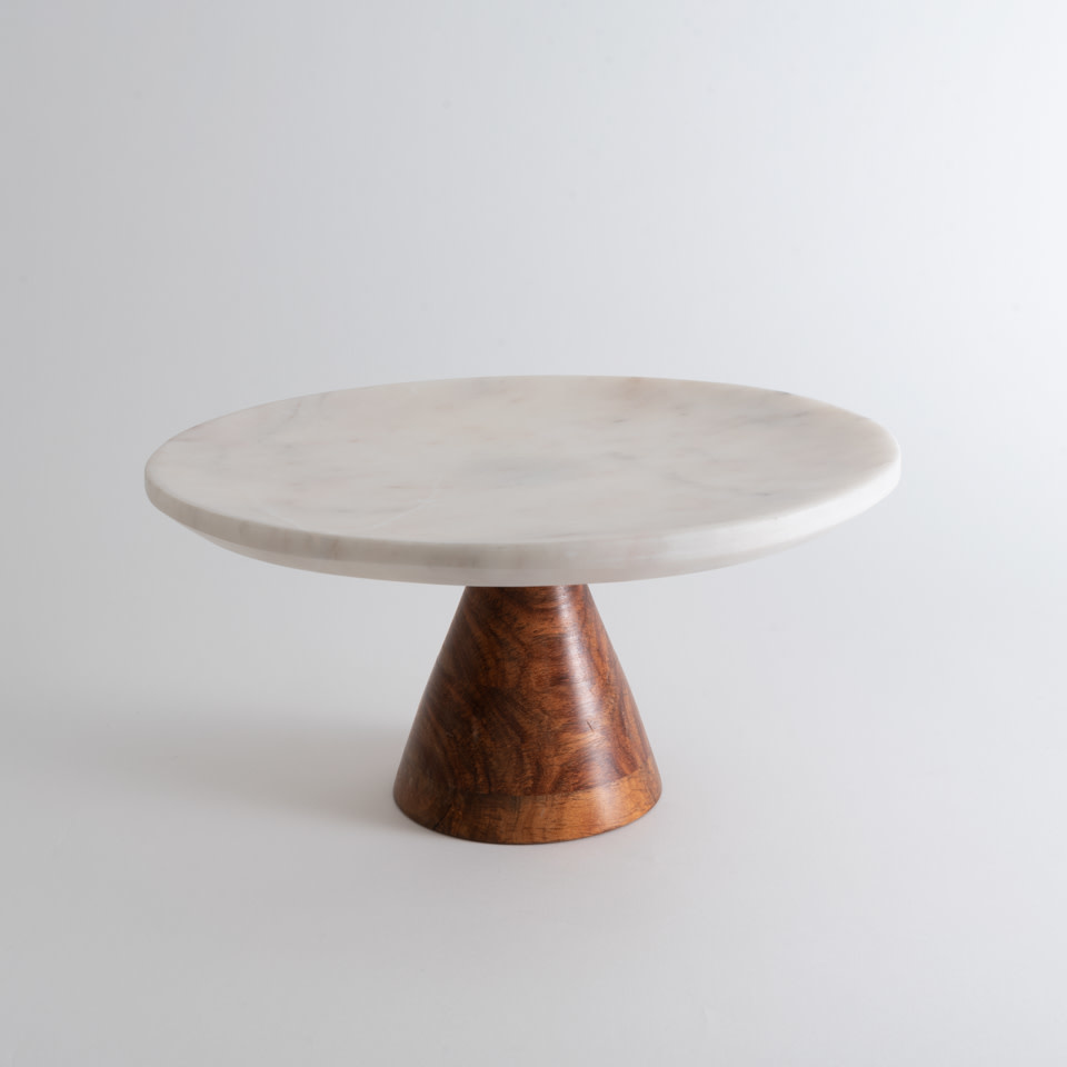 Marble Cake Plate with Wood Base