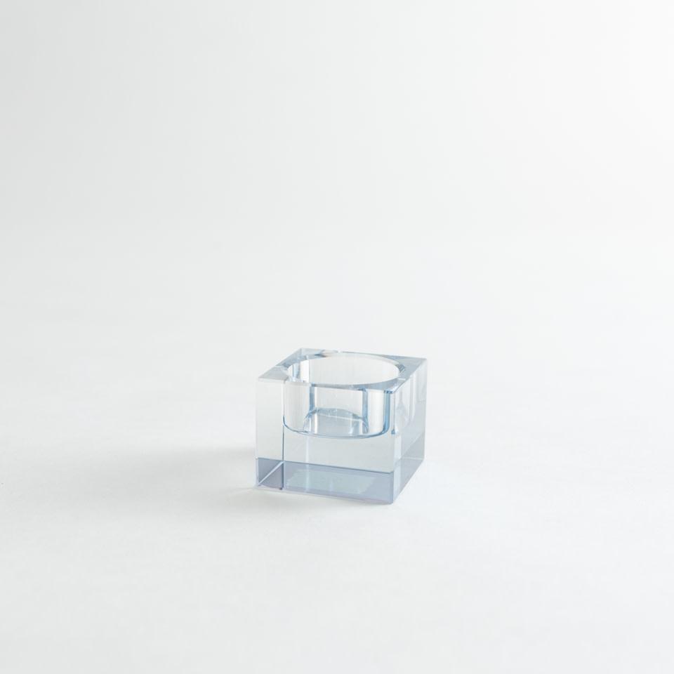 Crystal Square Votive Holder Blue