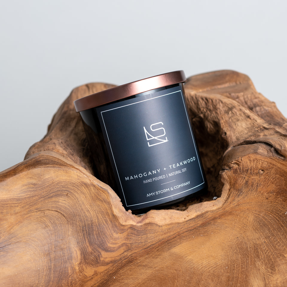 Mahogany + Teakwood candle by Amy Storm & Company