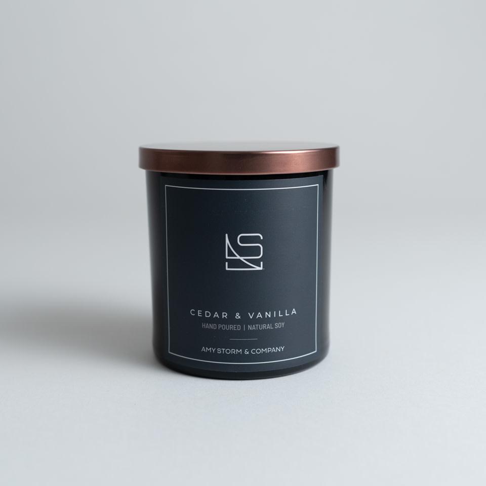 Cedar + Vanilla candle by Amy Storm & Company