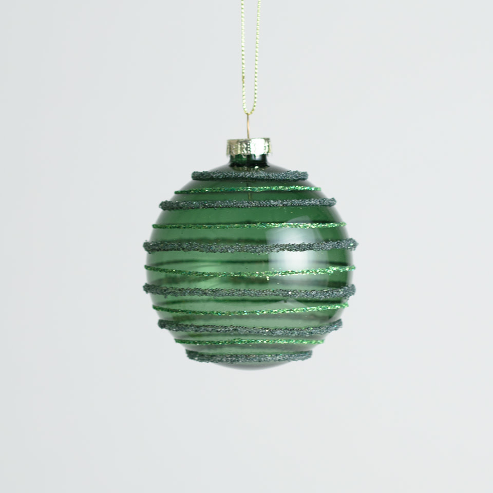Green Striped Beaded Ornament