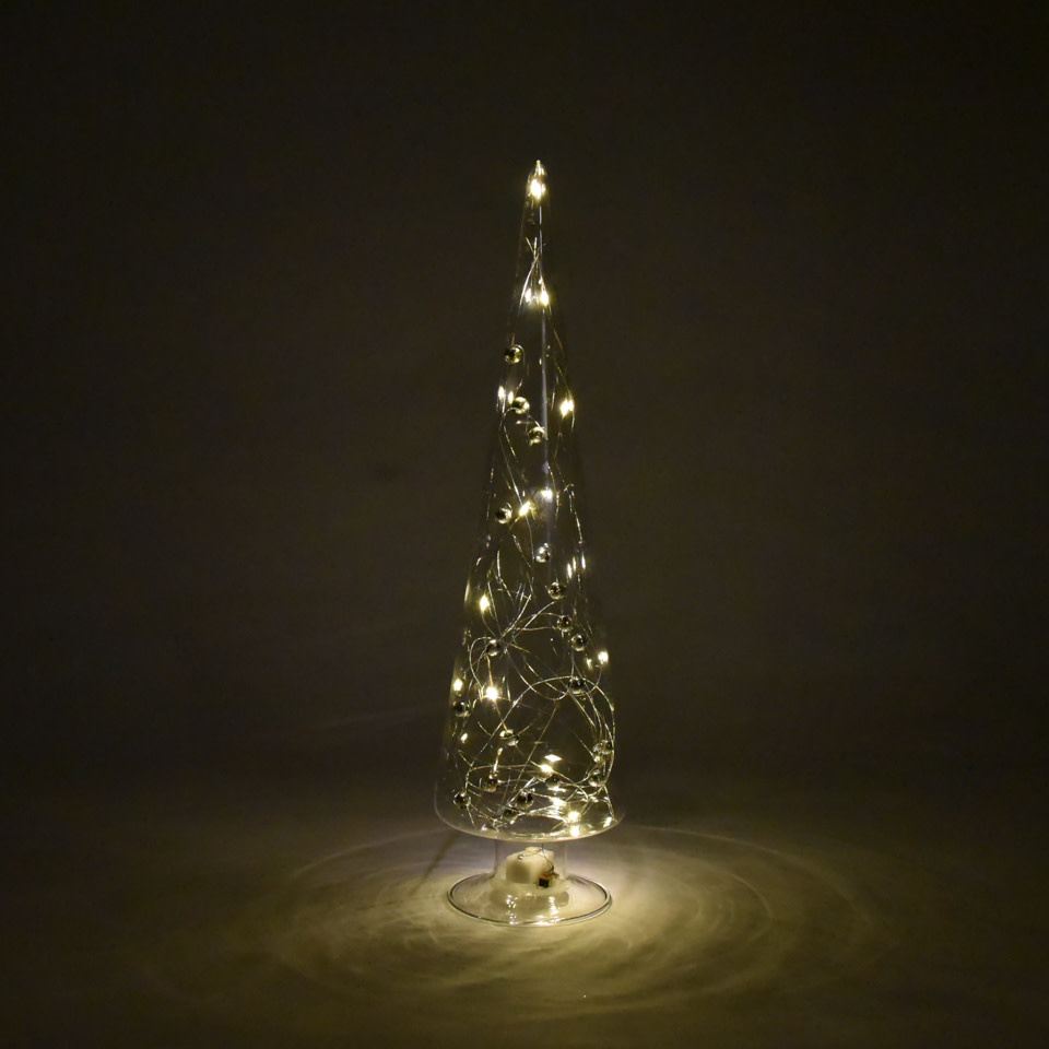 LED Glass Tree w/ Silver Beads