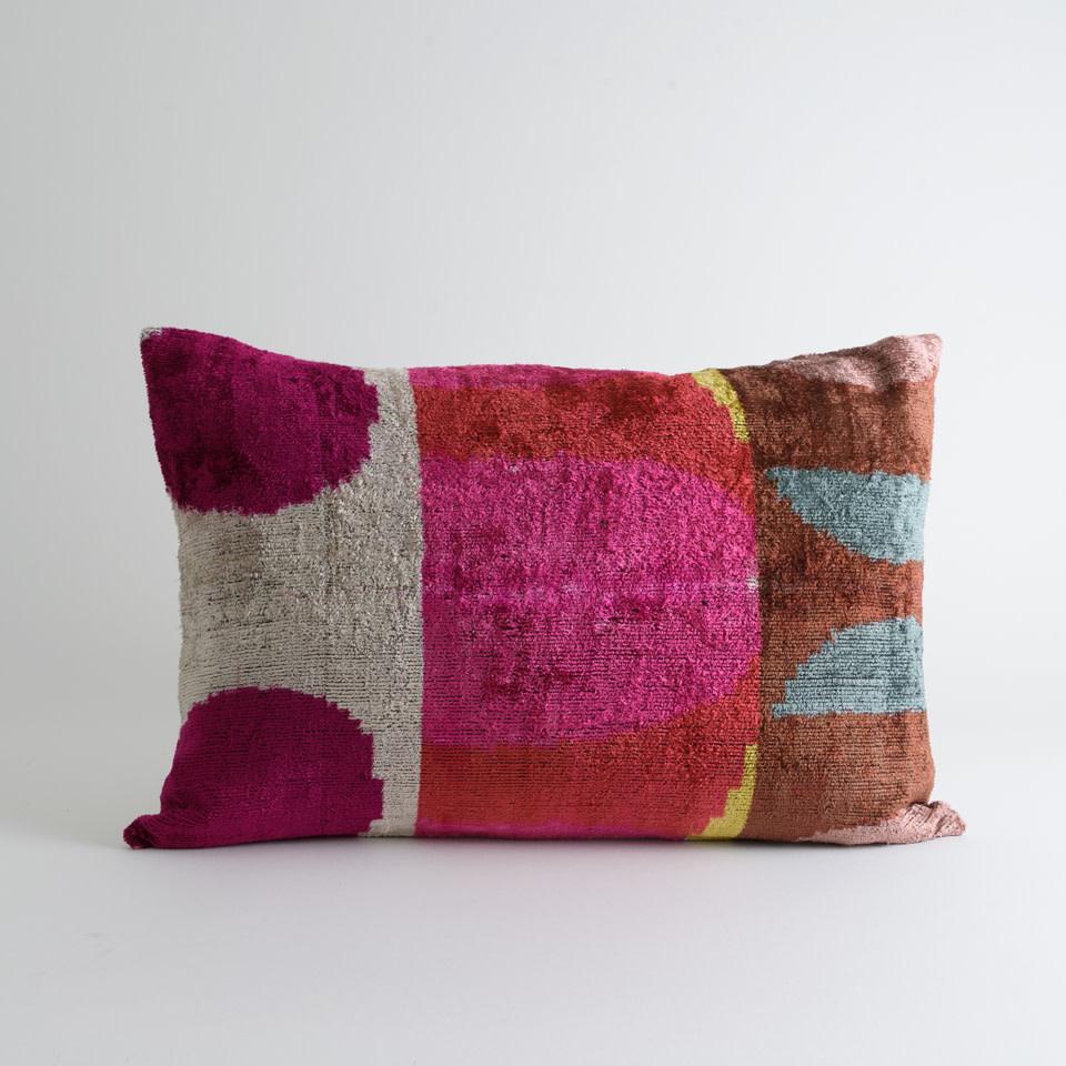Mod Pink No.3 Silk + Velvet Lumbar Pillow Cover