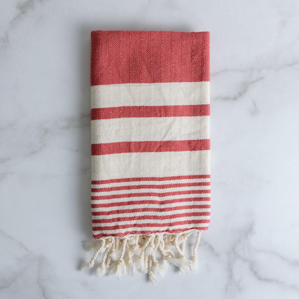 Striped Fringe Kitchen Towel {Candy Cane}