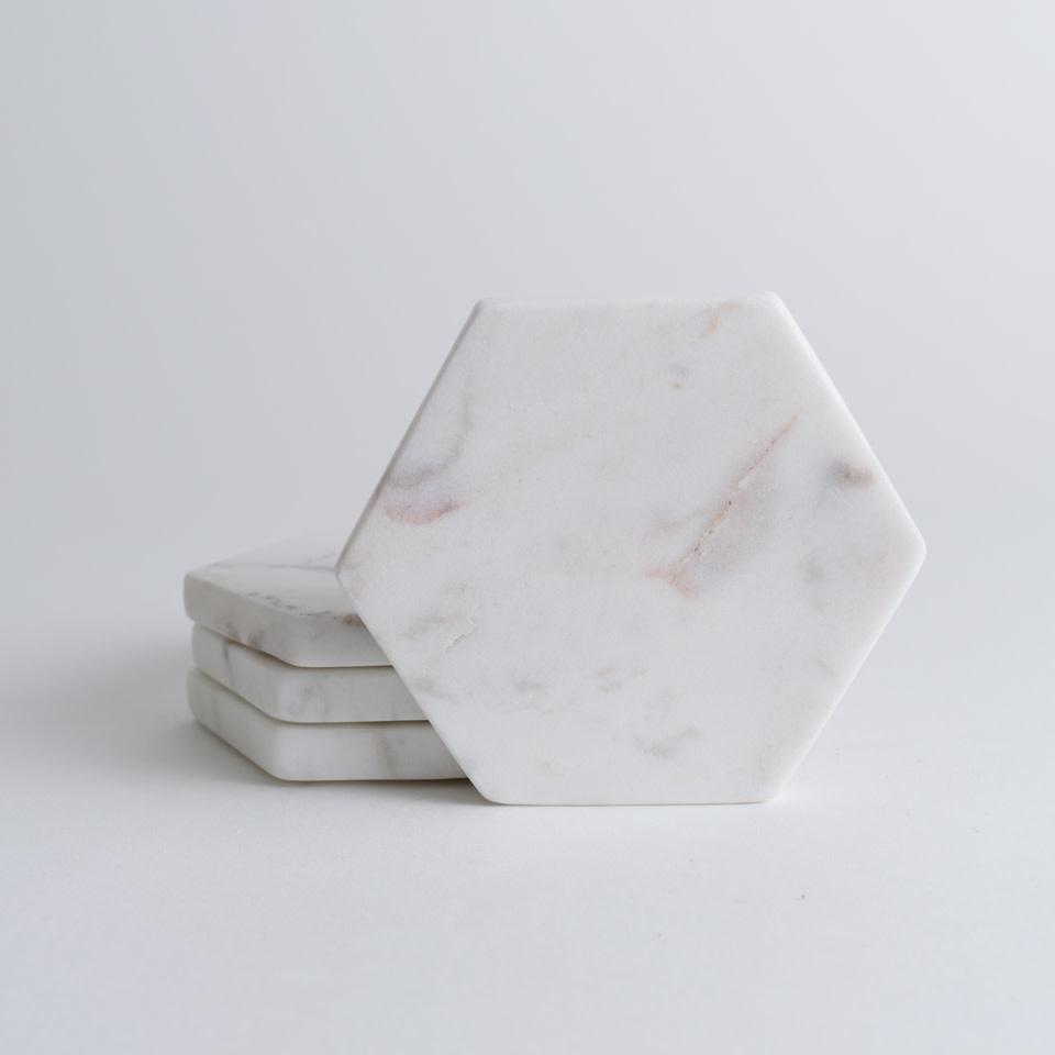 White Marble Hexagon Coasters