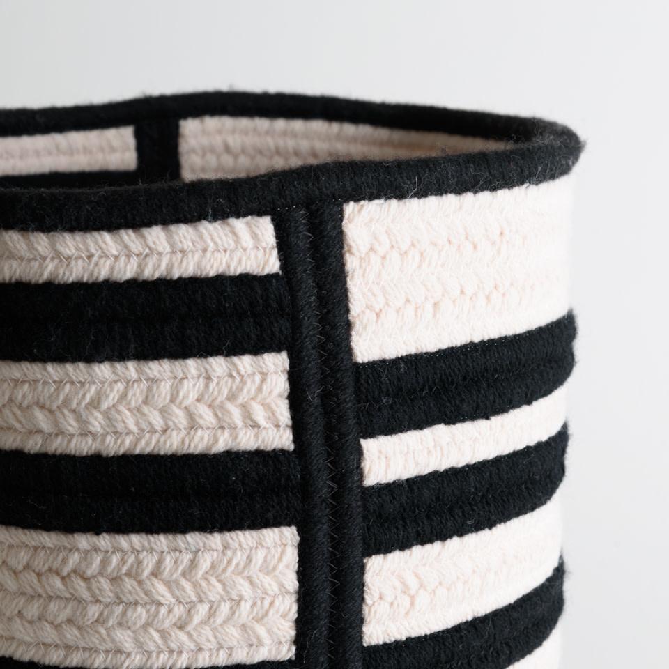 Thayer Black Raised Line Wool Basket