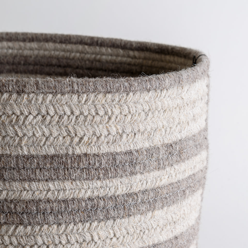 Light & Dark Grey Raised Line Natural Wool Basket