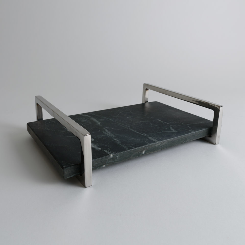 Black Marble Tray with Nickel Handles