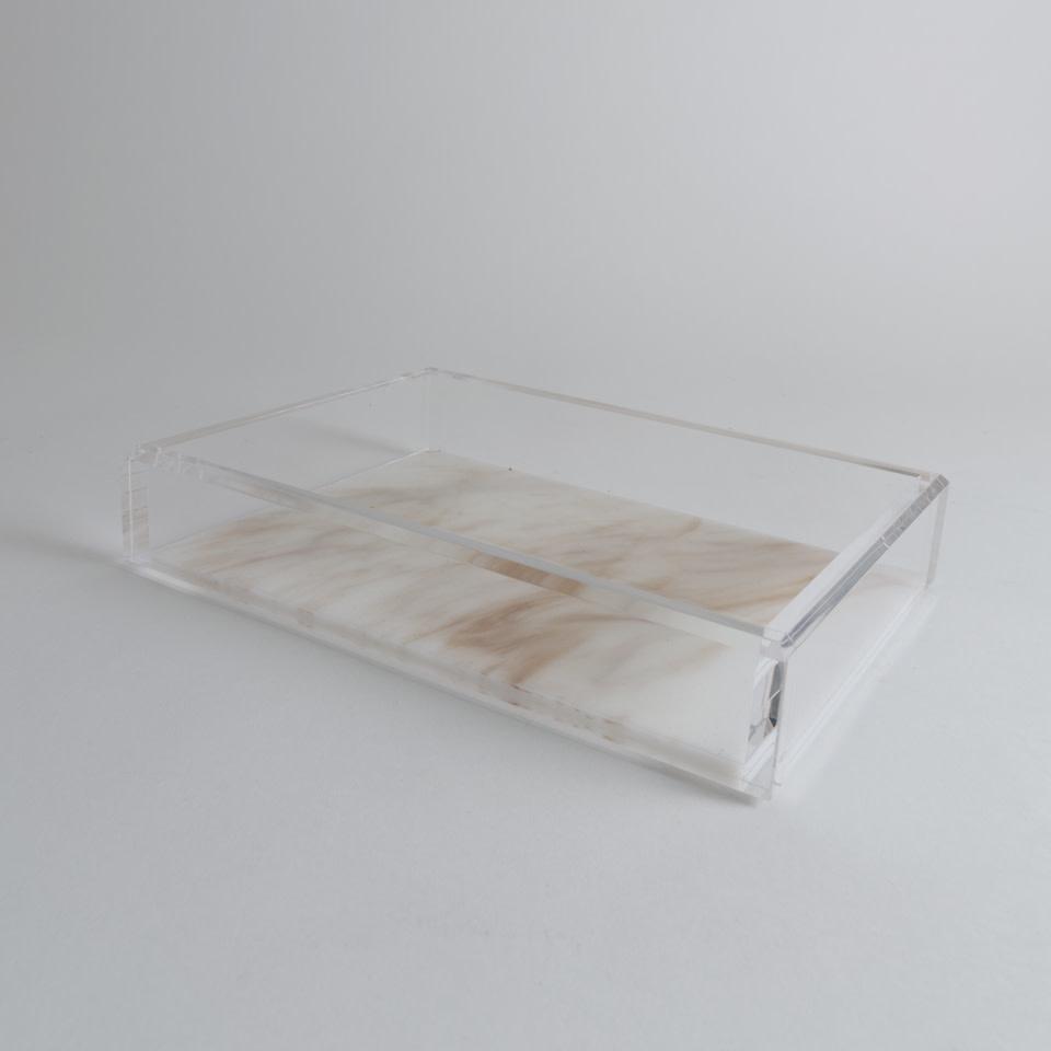 Medium Acrylic Tray {Whitestone Marble}