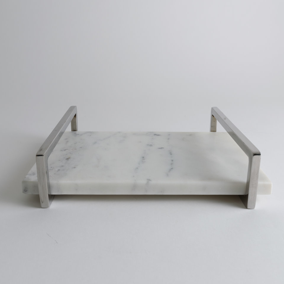 White Marble Tray with Nickel Handles