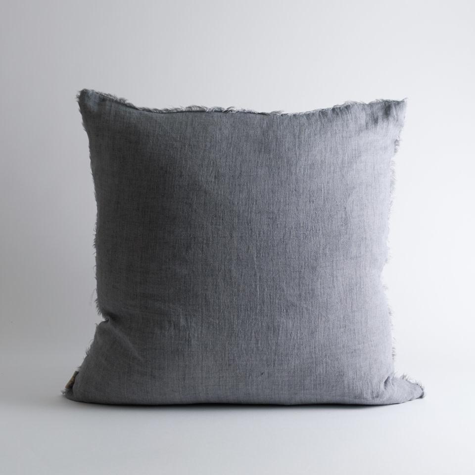 """Lina Linen 24"""" Steel Grey Pillow"""