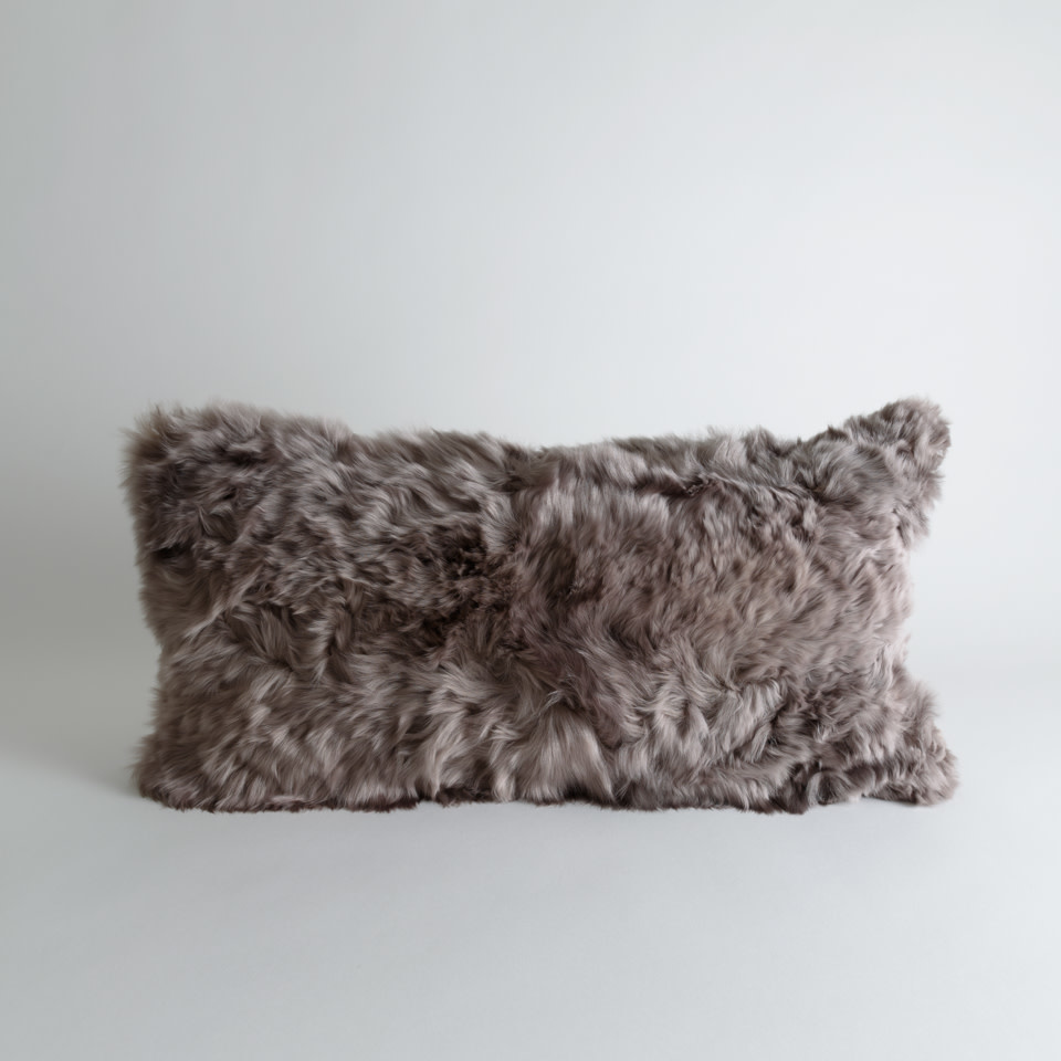 Alpaca Microsuede Vole Lumbar Pillow