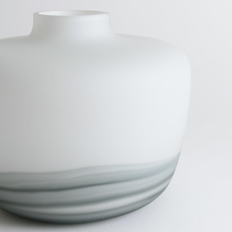 White and Gray Lava Glass Vase