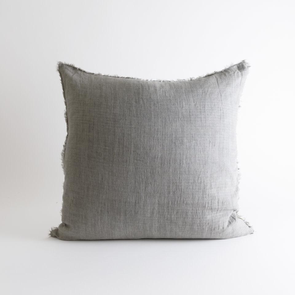 "Lina Linen 24"" Warm Grey Pillow"