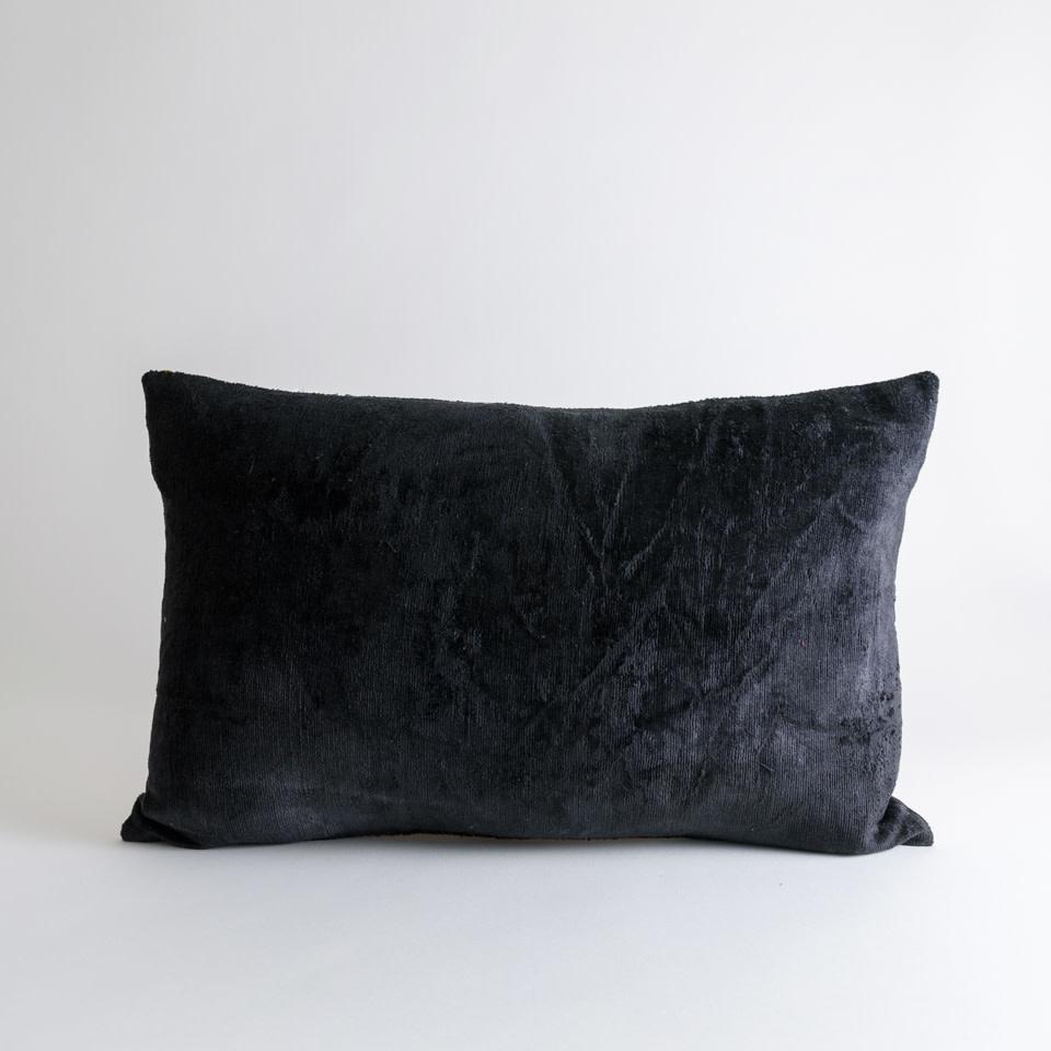 Coal Silk + Velvet Lumbar Pillow Cover