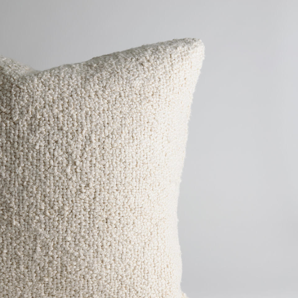 """Cream Boucle 20"""" Pillow Cover"""