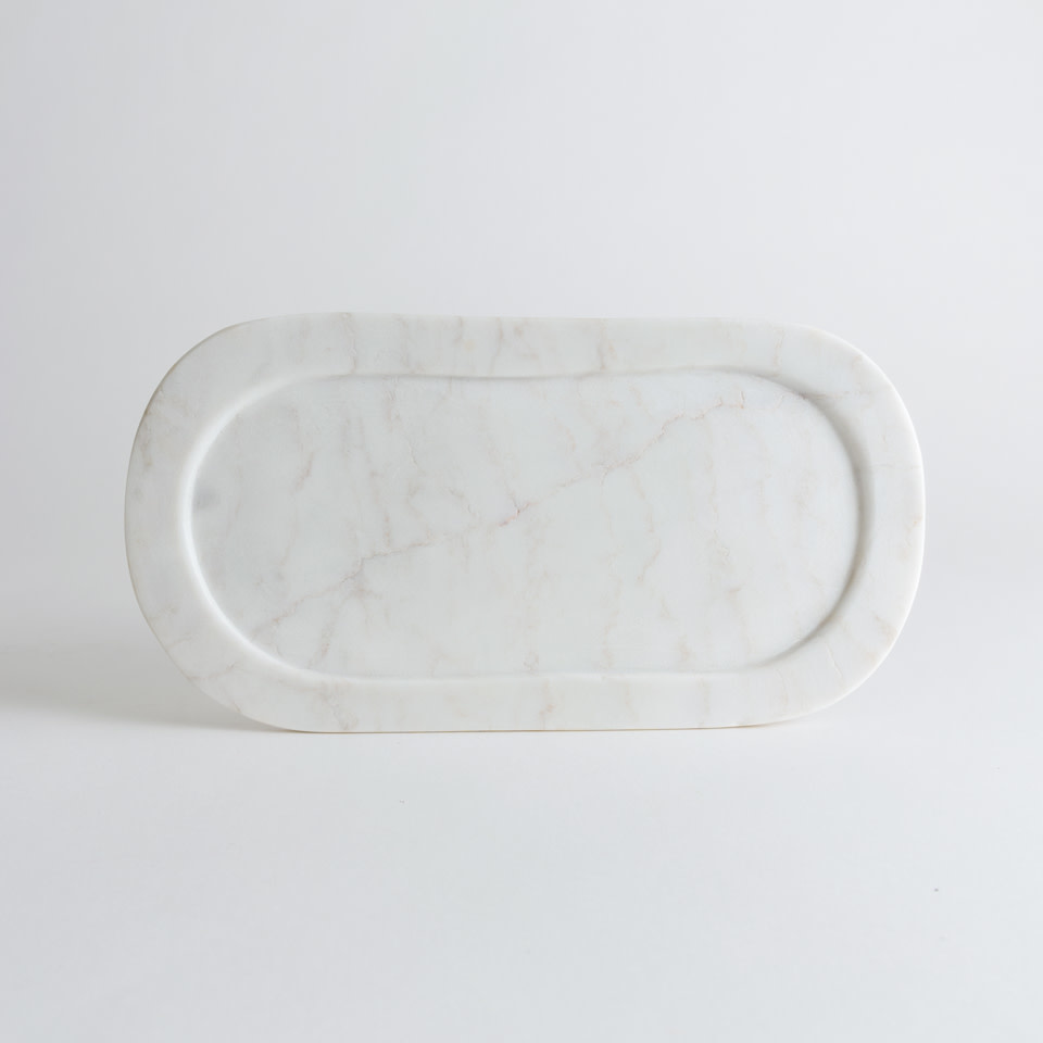 """14"""" Oval Marble Tray"""