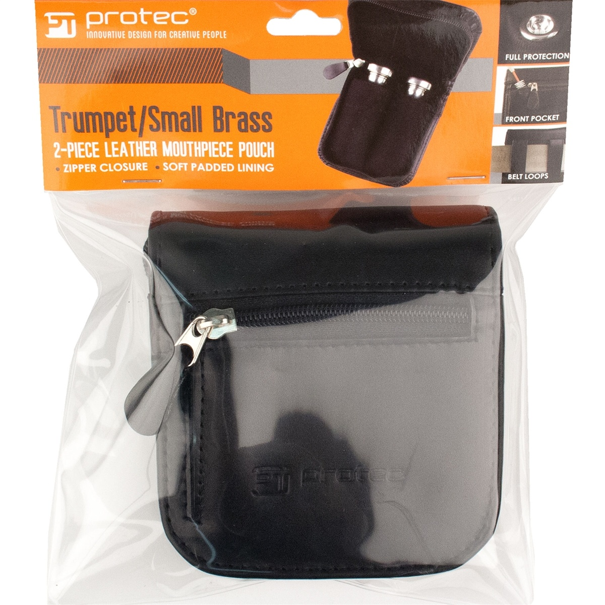 Protec Protec Small Brass Leather Mouthpiece Pouch - 2 Piece