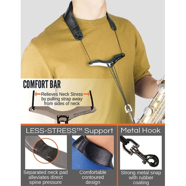 "Protec Leather ""Less-Stress"" Neck Strap w/ Deluxe Metal Trigger Snap & Comfort Bar"