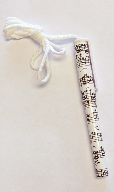 AIM Fashion Necklace Pen - Black & White with sheet music print