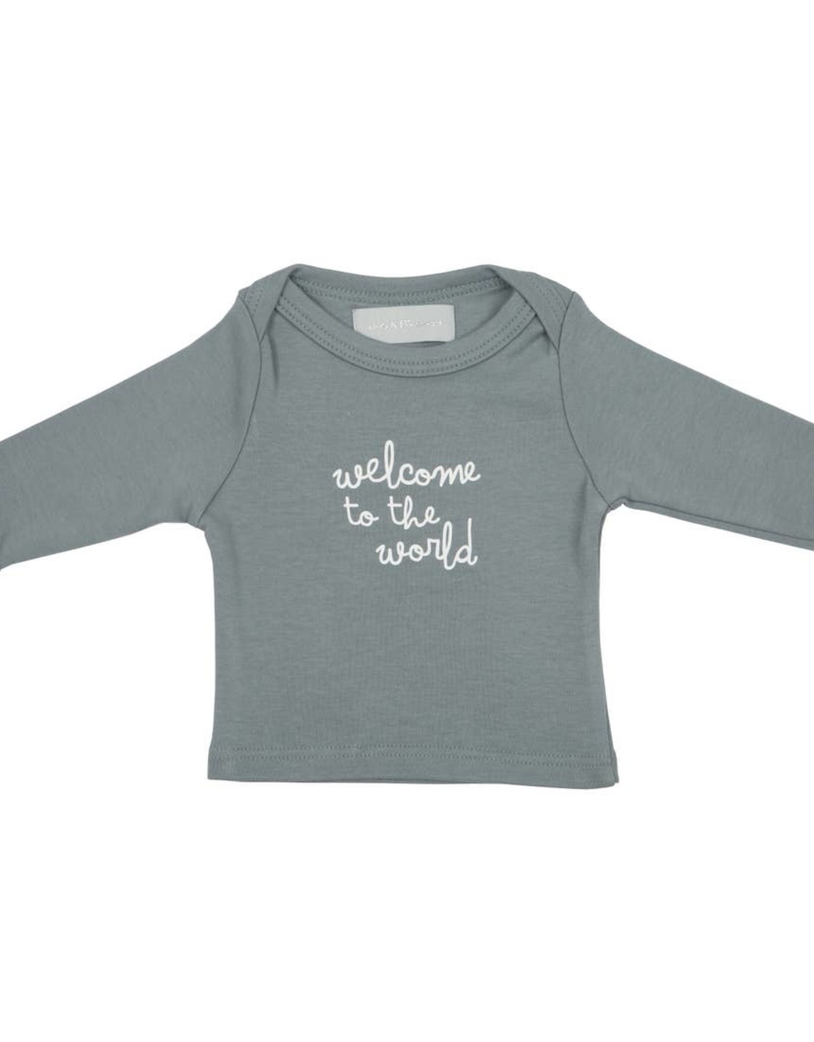 Bob & blossom Welcome to the World Slate Grey Baby tee
