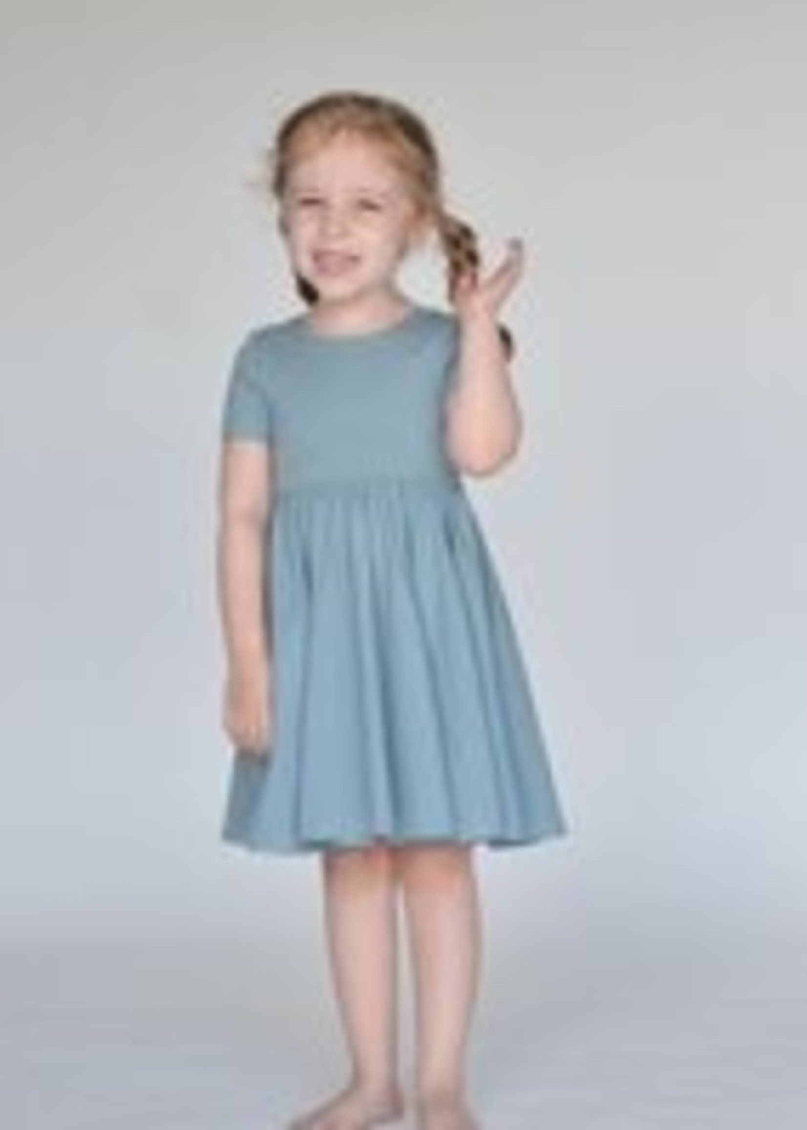 ollie jay Dusty Blue Classic Twirl Dress