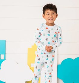 skylar luna Monster Print Long Sleeve Pajamas (2t, 5y, 8y)