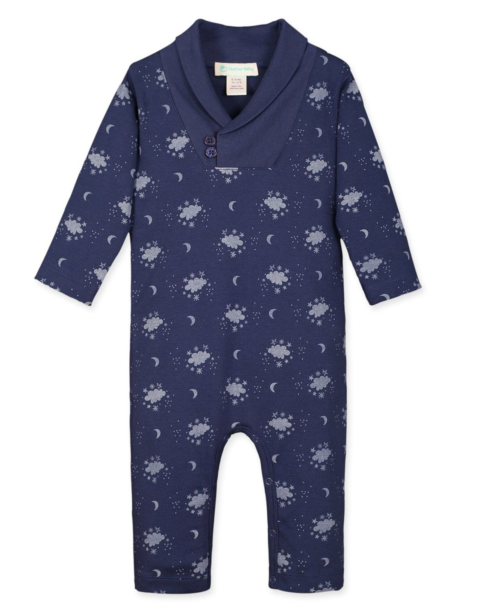 feather baby Night Sky Shawl Neck Romper