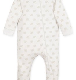 feather baby Hedgehogs on White Zippered Footie