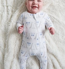 feather baby Giraffes on White Zippered Footie